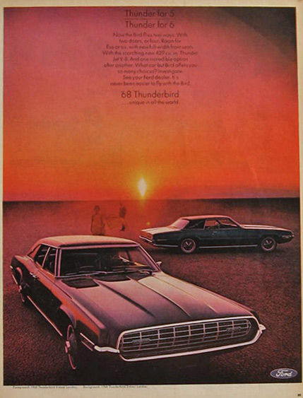 1968 Ford Thunderbird Ad ~ Thunder for 5, Thunder for 6