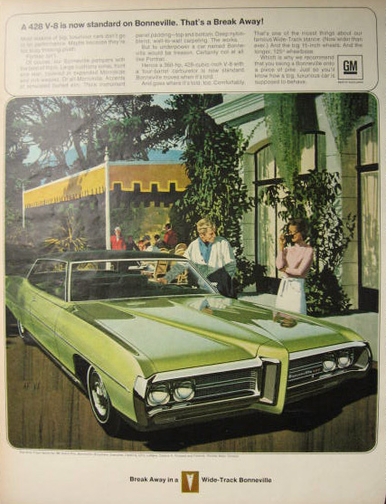 1969 Pontiac Bonneville Ad ~ VK/AF Art ~ That's a Break Away!