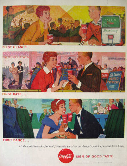 1958 Coke Coca Cola Ad ~ First Glance, First Date, First Dance