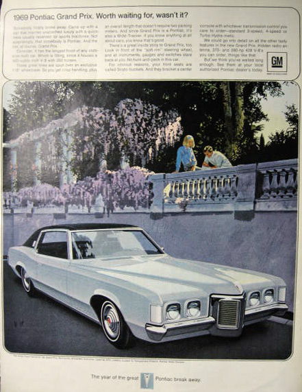 1969 Pontiac Grand Prix Ad ~ VK/AF Art ~ Worth Waiting For