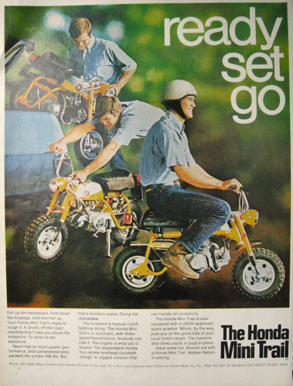 vintage honda motorcycle ads. 1969 honda mini trail motorcycle vintage ad ads f