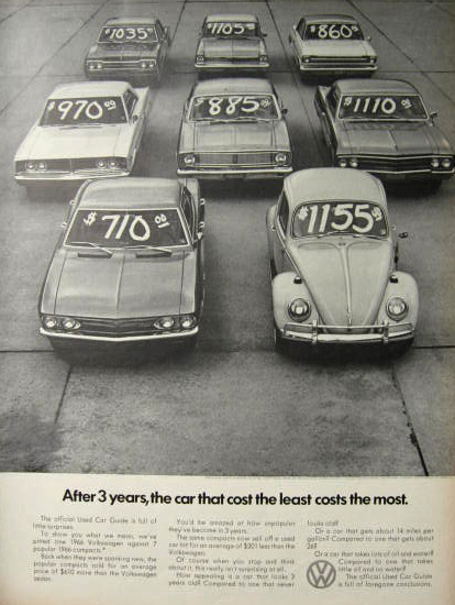 1969 Volkswagen Beetle Ad ~ Car That Cost the Least