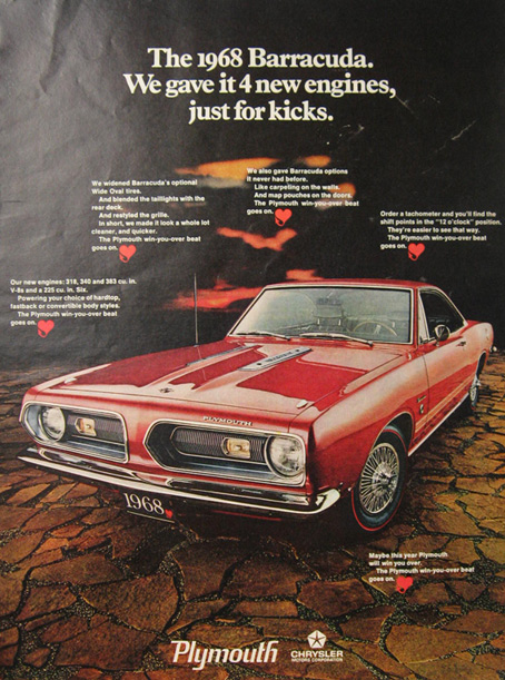 1968 Plymouth Barracuda Ad ~ 4 New Engines