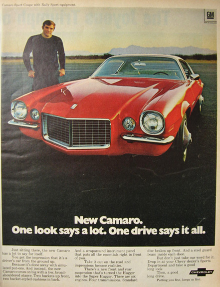 1970 Chevy Camaro Sport Coupe Ad ~ One Look Says A Lot
