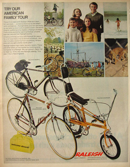 1970 Vintage Raleigh Bicycle Ad ~ Chopper, Sports, MKII