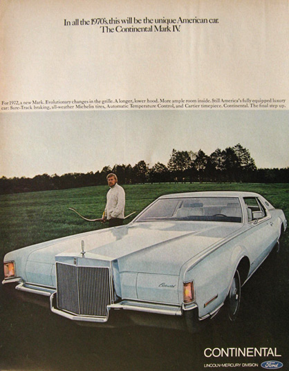 1972 Lincoln Continental Mark IV Ad ~ Unique American Car