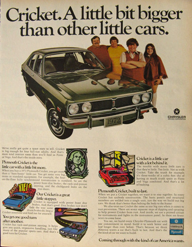 1972 Plymouth Cricket Ad ~ A Little Bigger