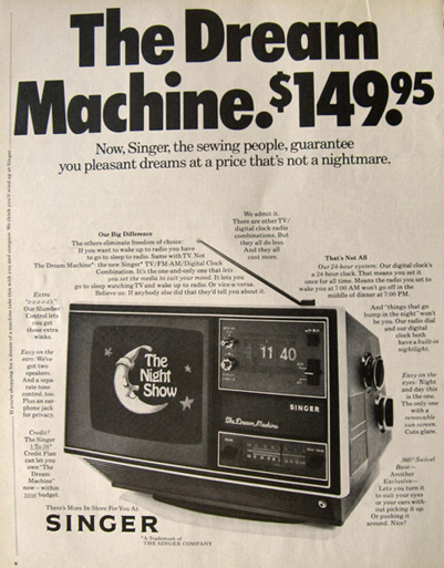 1971 Singer Dream Machine Ad ~ Clock, Radio, TV