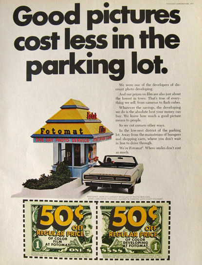 1971 Kodak Fotomat Ad ~ Cost Less in the Parking Lot