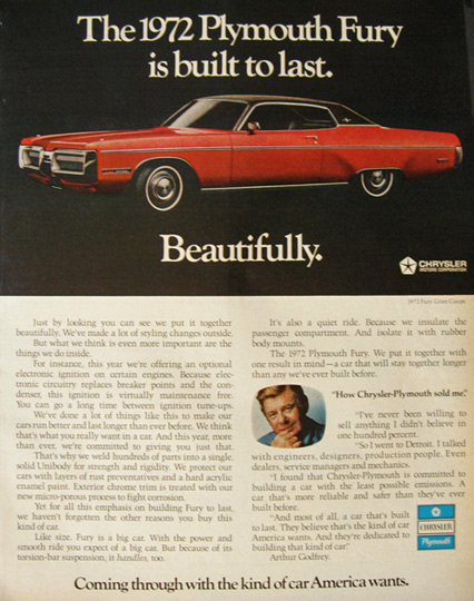 1972 Plymouth Fury Ad ~ Built To Last