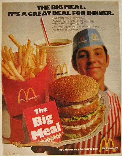 1971 Vintage McDonald's Ad ~ The Big Meal