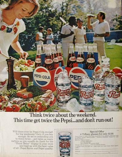 1971 Pepsi-Cola Vintage Ad ~ Gafas Tiffany