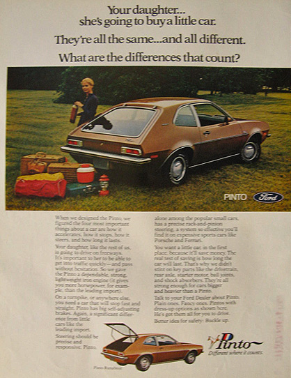 ford pinto paper The purpose of this paper will be to determine whether ford was to blame in the ford pinto case this paper will provide possible solutions as well as.
