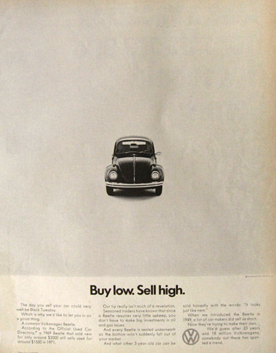 1971 VW Volkswagen Beetle Ad ~ Buy Low, Sell High
