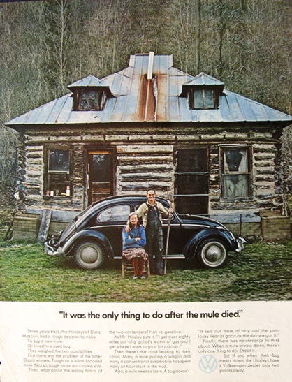 1971 VW Beetle Ad ~ The Hinsleys of Dora, Missouri