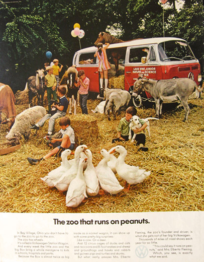 1971 VW Volkswagen Bus Ad ~ Bay Village, Ohio Traveling Zoo