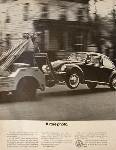1971 VW Volkswagen Beetle Ad ~ A Rare Photo