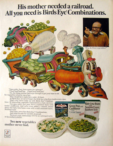 1972 Birds Eye Vegetables Ad ~ Choo-Choo Train