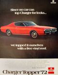 1972 Dodge Charger Topper Ad ~ Free Vinyl Roof