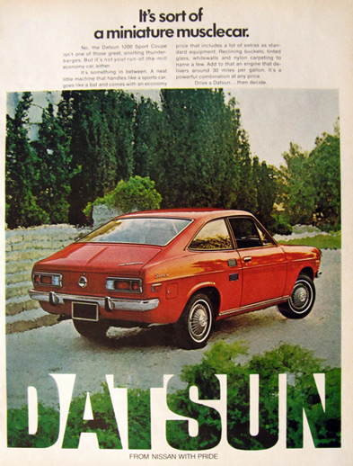 1972 Datsun 1200 Sport Coupe Ad Mini Muscle Car Vintage Car Ads