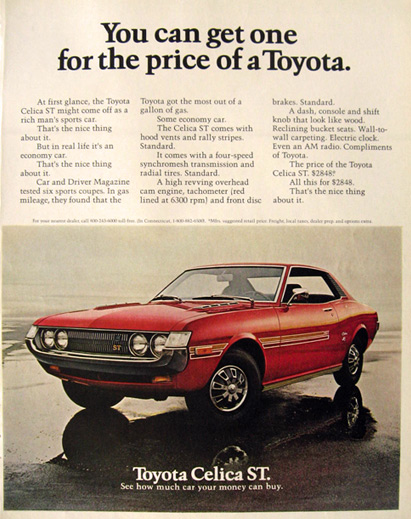 1972 Toyota Celica ST Ad ~ For the Price of a Toyota