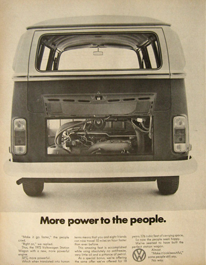 1972 VW Volkswagen Bus Ad ~ More Power to the People