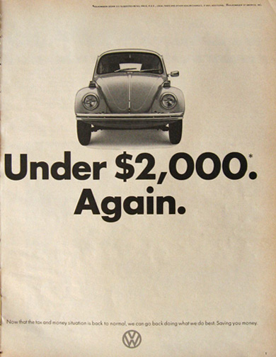 1973 VW Volkswagen Beetle Ad ~ Under $2,000. Again.