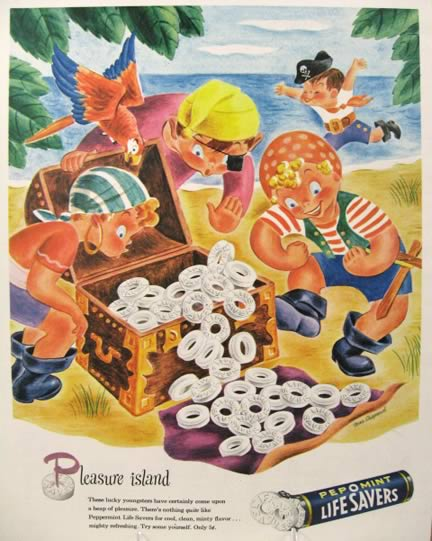 1945 Lifesavers Candy Ad ~ Pleasure Island