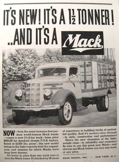 1938 Mack Truck Photo Ad ~ New 1 1/2 Tonner