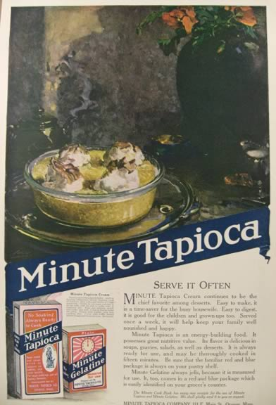 1919 Minute Tapioca Ad ~ Tapioca Cream Recipe