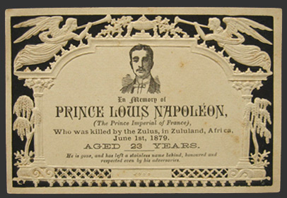 1879 Prince Louis Napoleon Killed by Zulus Memorial Card