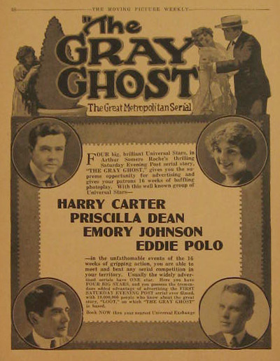 The Gray Ghost, Harry Carter 1917 Silent Movie Ad