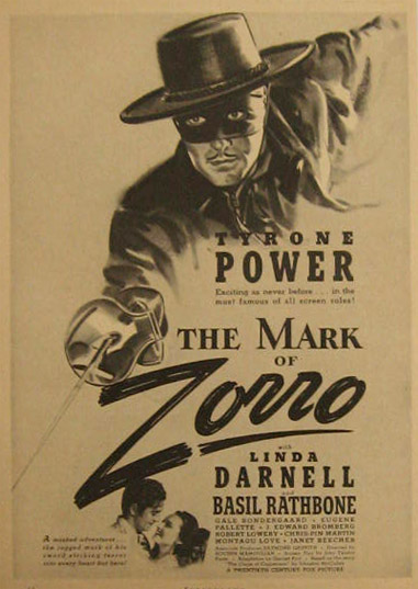 The Mark of Zorro, Tyrone Power 1940 Vintage Movie Ad