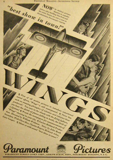 """Wings"" 1927 Vintage Movie Ad ~ Clara Bow"