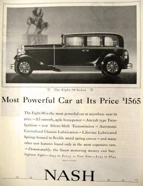 1931 Nash Automobile Ad ~ Eight-90 Sedan Photo