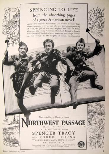 1940 Movie Ad ~ Northwest Passage ~ Spencer Tracy