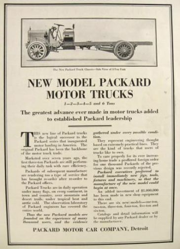 1915 Packard Truck Ad ~ 3 Ton Chassis