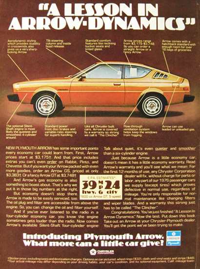 1976 Plymouth Arrow Ad ~ Lesson in Aero-Dynamics