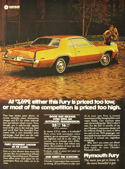 1976 Vintage Plymouth Fury Ad ~ Priced Too Low
