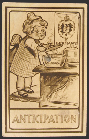 Anticipation�German Girl with Sauerkraut Postcard
