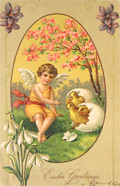Easter Greetings Chicks Hatch with Angel Postcard