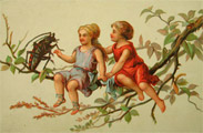 Tiny Children with Large Beetle Blank Trade Card
