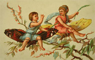 Tiny Children Sit on Large Butterflies Blank Trade Card