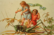 Tiny Children Ride Large Grasshopper Blank Trade Card