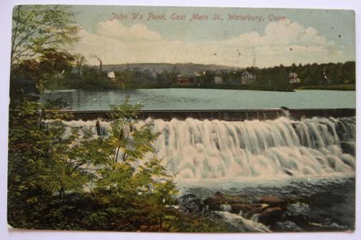 Waterbury CT Postcard ~ John D's Pond, East Main Street