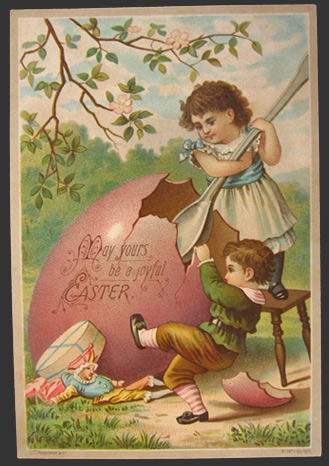 Vintage Hildesheimer Easter Greeting Card ~ Kids with Large Egg & Spoon