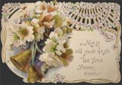 Victorian Die-Cut Greeting Card ~ Bells & Flowers