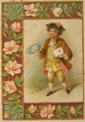 Vintage Marcus Ward Christmas Greeting Card ~ Victorian Boy