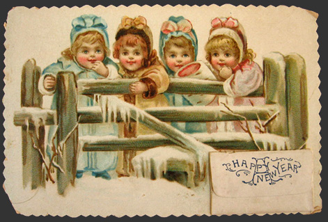vintage new year greeting card four children behind fence vintage