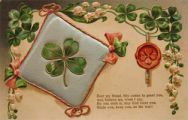 Lucky 4 Leaf Clover ~ Good Wishes Vintage Quilted Postcard